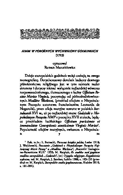 Pdf Adam W Pobożnych Wychwalony Godzinkach Roman