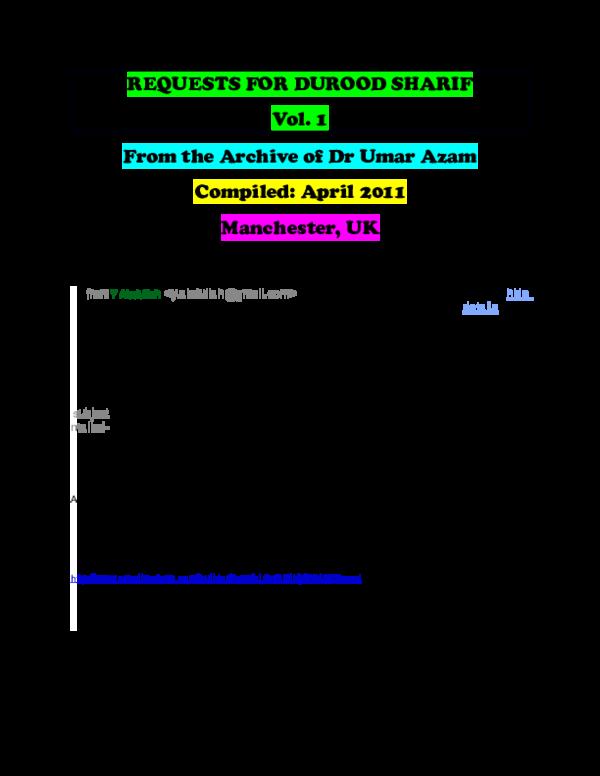 PDF) REQUESTS FOR DUROOD SHARIF | DR UMAR E AZAM - Academia edu