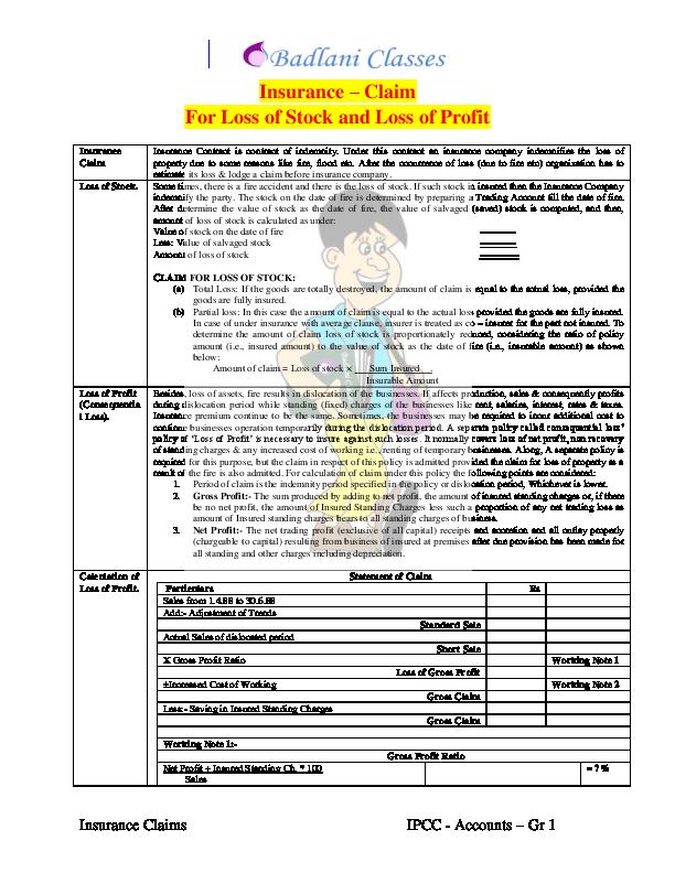 Pdf 1 Insurance Claim Dilip Badlani Academia Edu