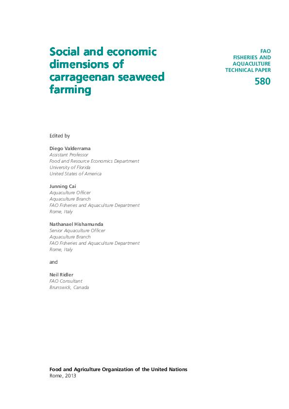 PDF) Social and economic dimensions of carrageenan seaweed