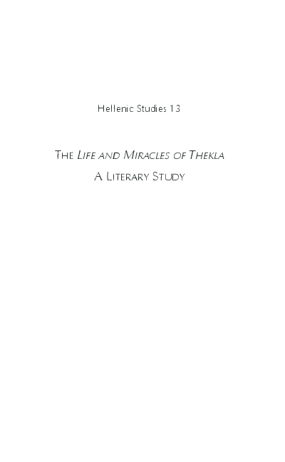 The Life And Miracles Of Thekla A Literary Study Scott Johnson