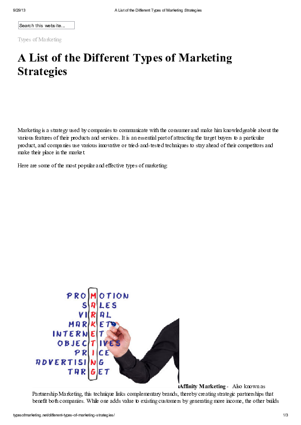 PDF) A List of the Different Types of Marketing Strategies