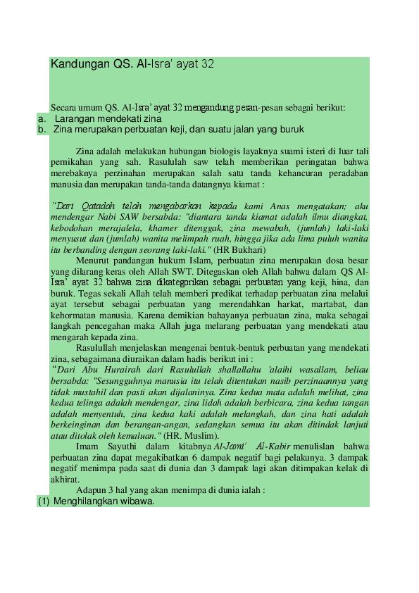 Doc Kandungan Qs Al Isra Ayat 32 Achmad Fahmi Academiaedu