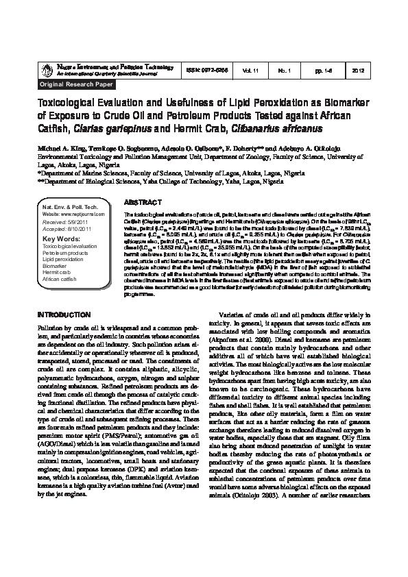 PDF) Toxicological Evaluation and Usefulness of Lipid