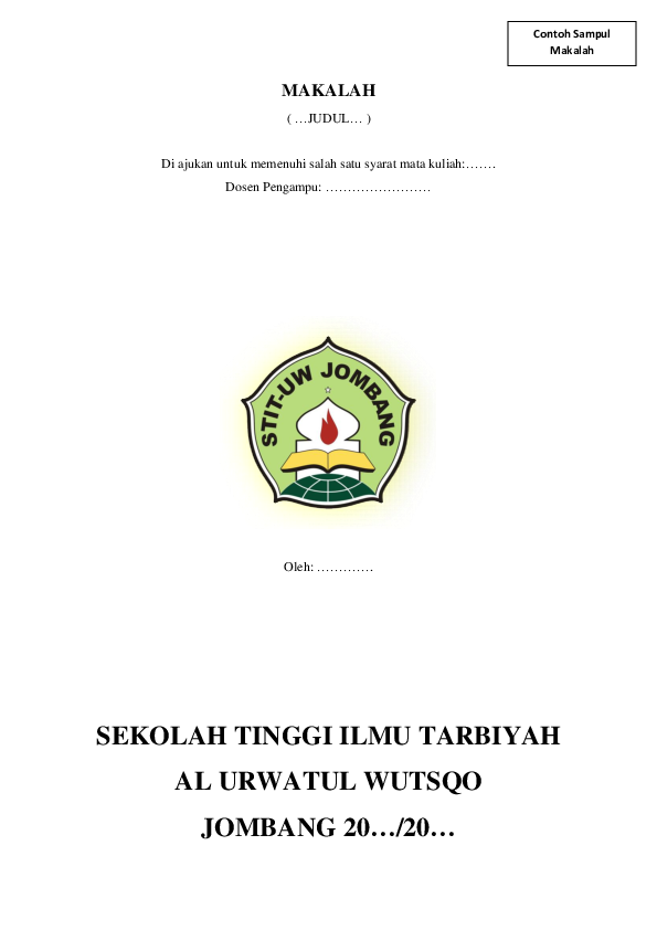 Pdf Contoh Sampul Makalah Badruz Zaman Academia Edu