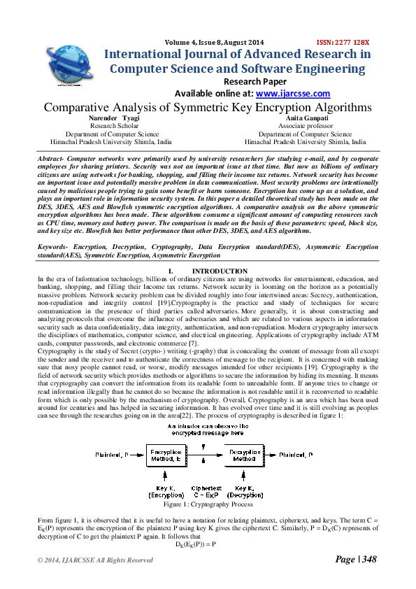 PDF) Comparison of symmetric encryption algorithms PDF