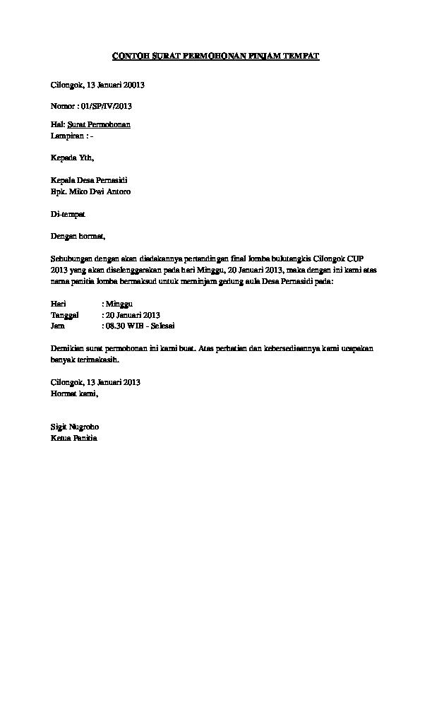 Doc Contoh Surat Permohonan Pinjam Tempat Josiah Onasis