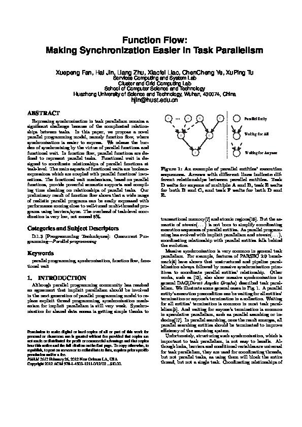 PDF) Function flow: making synchronization easier in task