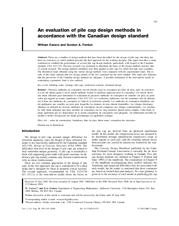 Pdf An Evaluation Of Pile Cap Design Methods In Accordance With The Canadian Design Standard Panatchai Ch Academia Edu