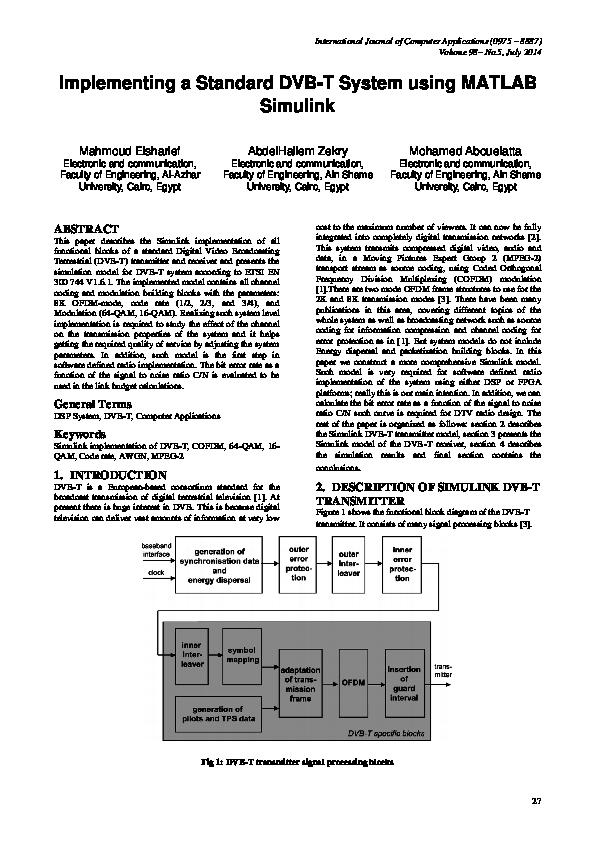 PDF) Implementing a standard DVB-T System Using MATLAB Simulink