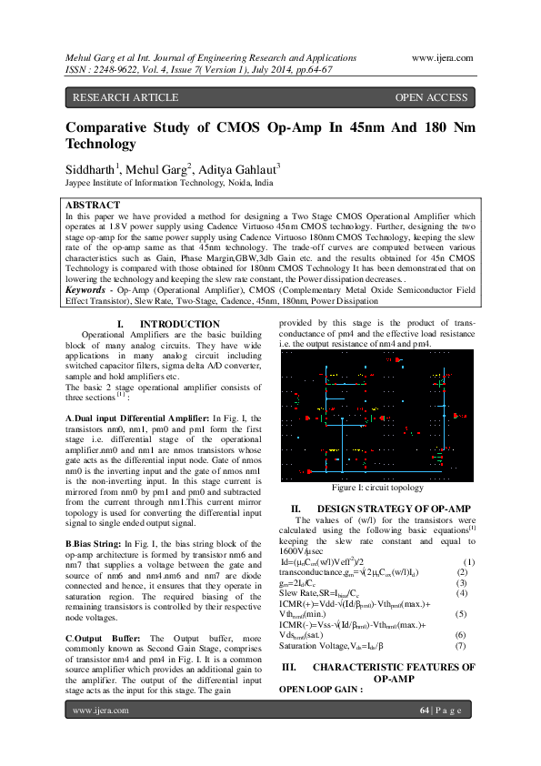 PDF) Comparative Study of CMOS Op-Amp In 45nm And 180nm