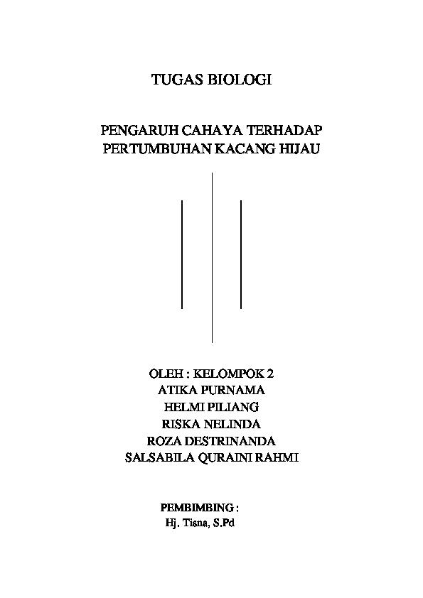 Doc Pengaruh Cahaya Terhadap Pertumbuhan Kacang Hijau Lnz Wip Academia Edu
