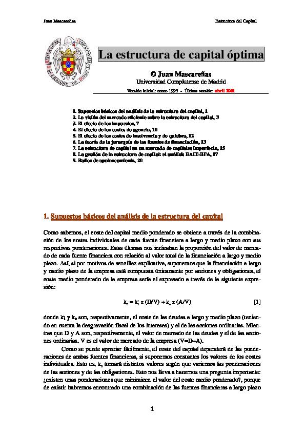 Pdf Estructura De K Optima Mascareñas Massimo Sport