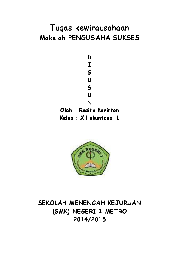 Doc Makalah Kwu Wirausaha Sukses Rosita Korinton Academia Edu