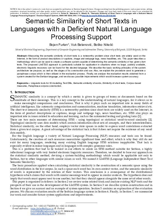 PDF) Semantic similarity of short texts in languages with a