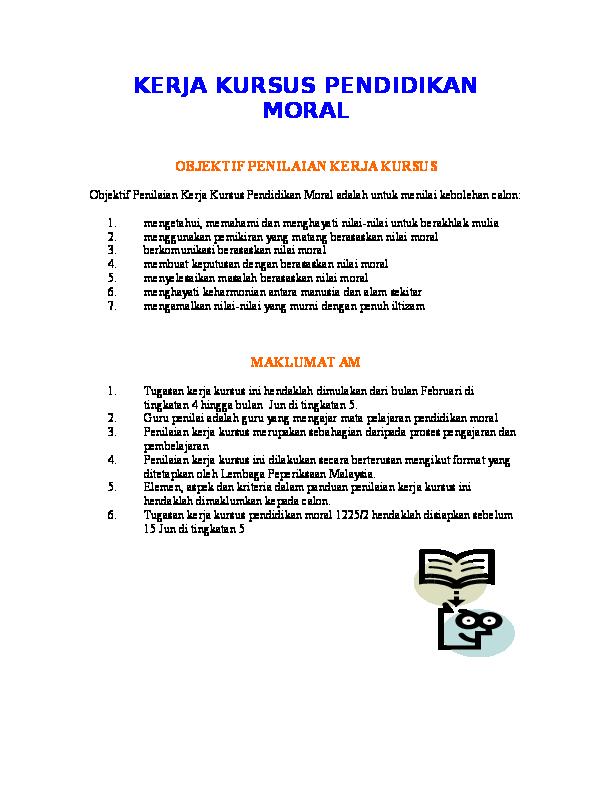 Doc Kerja Kursus Pendidikan Moral Objektif Penilaian Kerja Kursus Conan Sim Academia Edu