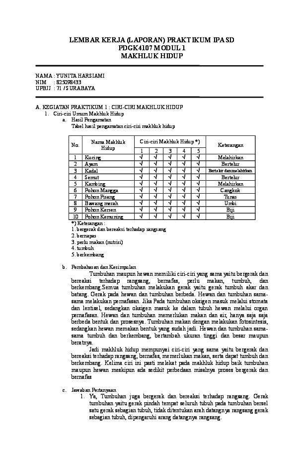 Doc Lembar Kerja Laporan Praktikum Ipa Sd Pdgk4107 Modul 1 Makhluk Hidup Yunita Harsiami Academia Edu
