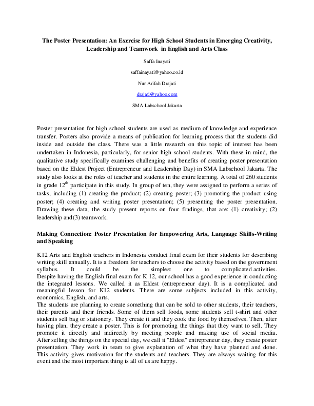 DOC) The Poster Presentation: An Exercise for High School