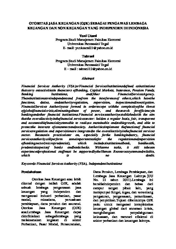 Pdf Otoritas Jasa Keuangan Ojk Sebagai Pengawas Lembaga Keuangan Dan Non Keuangan Yang Independen Di Indonesia Anisa Sukowati Amrini Pitoyo Academia Edu