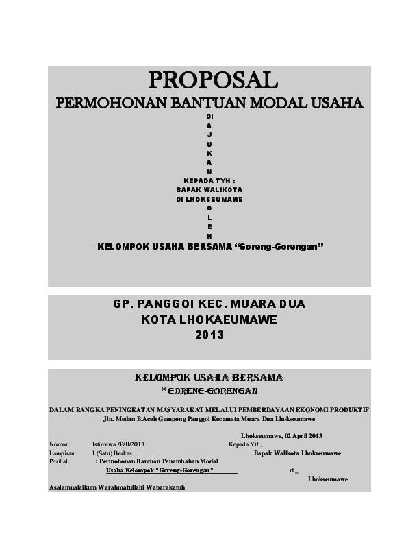 Contoh Proposal Pengajuan Dana Usaha Makanan Pdf