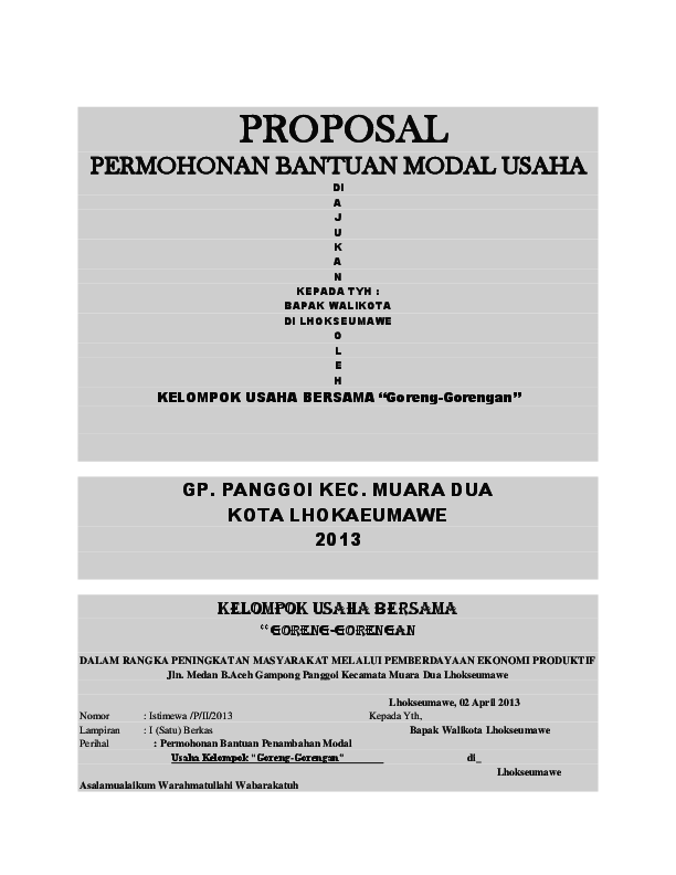 Doc Proposal Permohonan Bantuan Modal Usaha Habib Prakoso Academia Edu