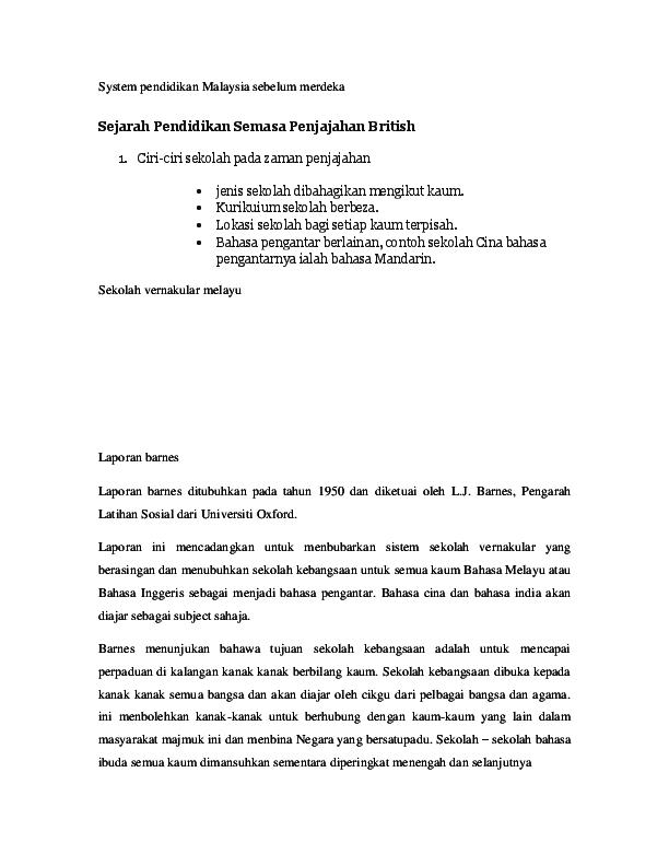 Doc System Pendidikan Malaysia Sebelum Merdeka Kong Xiang Sam Academia Edu