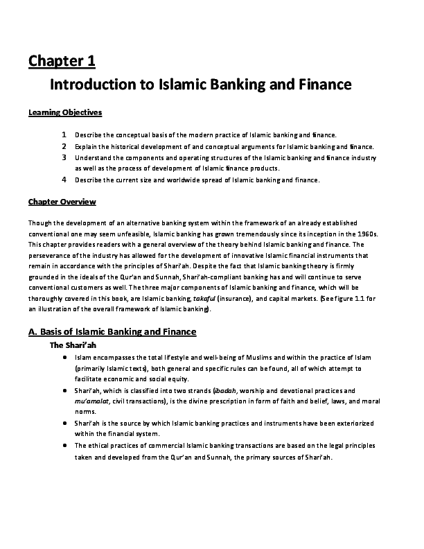 PDF) Chapter 1 Introduction to Islamic Banking and Finance Learning