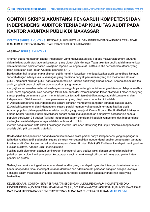 Judul Skripsi Akuntansi Research Papers Academia Edu