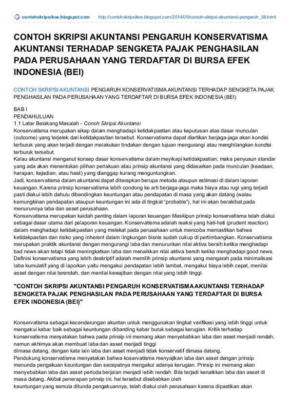 Contoh Skripsi Ekonomi Akuntansi Research Papers Academia Edu