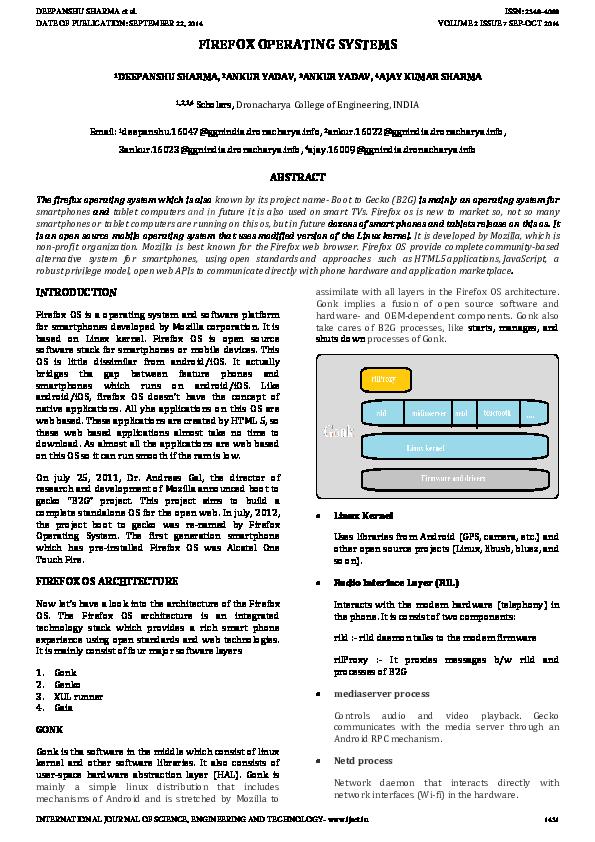 PDF) FIREFOX OPERATING SYSTEMS | IJSET JOURNAL - Academia edu