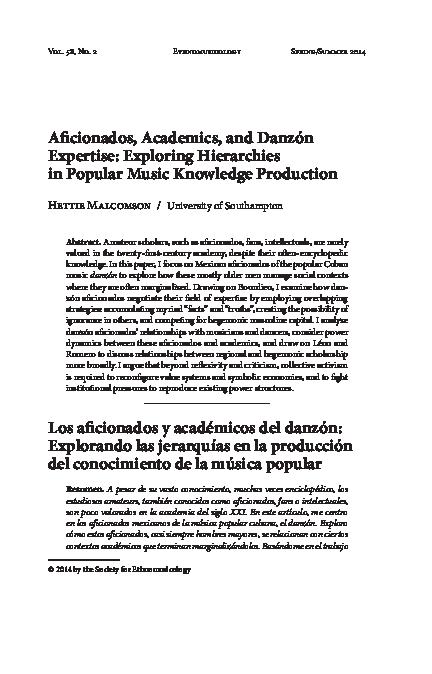 Pdf Aficionados Academics And Danzón Expertise Exploring