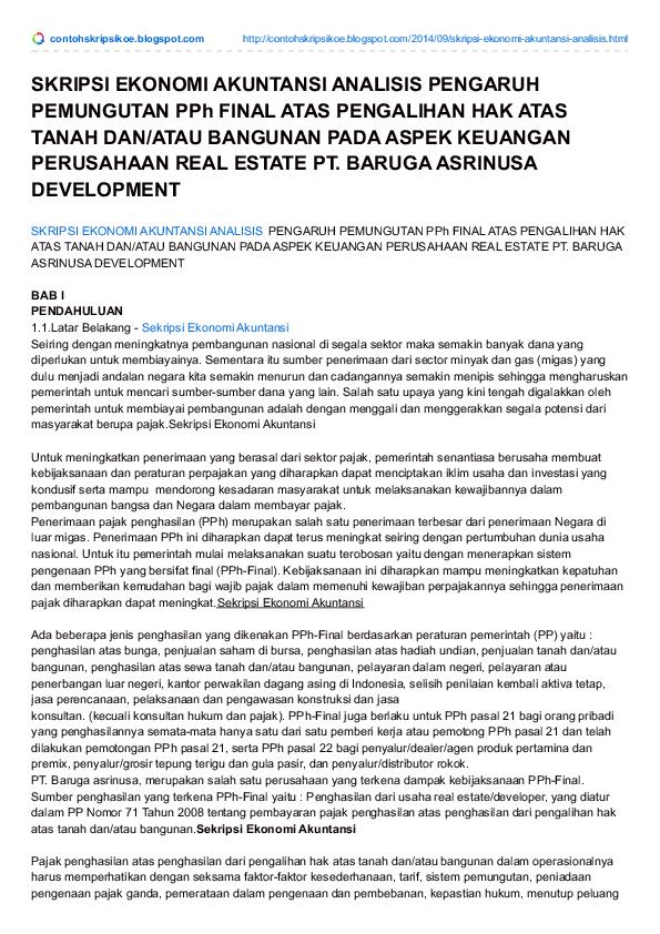 Contoh Skripsi Ekonomi Akuntansi Research Papers Academia Edu