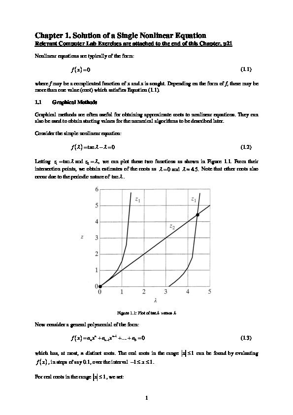 PDF) 1 Solution of a Non-Linear Equation | Kar Heng Lee, Ph
