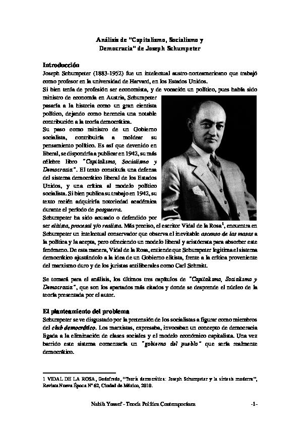 Pdf Análisis De Capitalismo Socialismo Y Democracia De Joseph Schumpeter Nabih Yussef Academia Edu