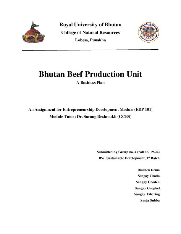 Pdf Business Plan For Beef Farm Sangay Choda Academia Edu