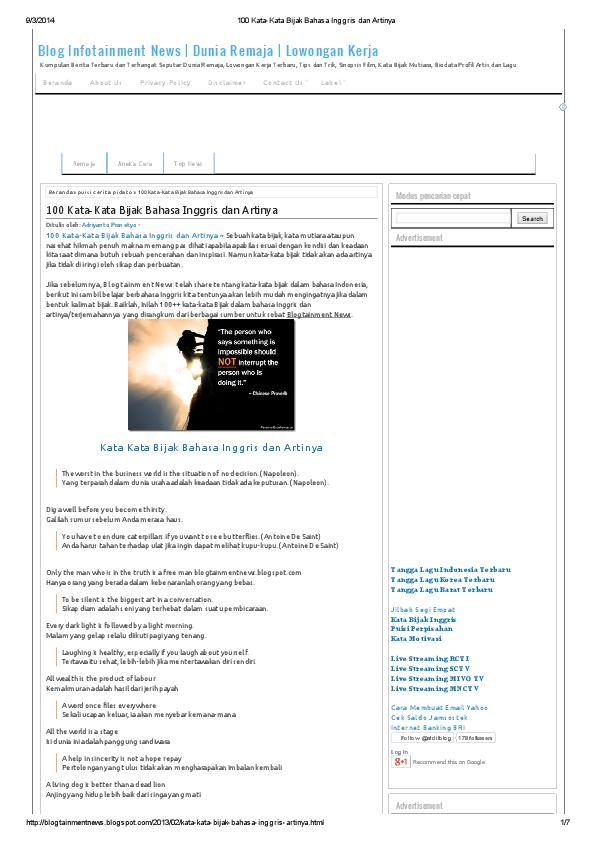 PDF 100 Kata Kata Bijak Bahasa Inggris dan Artinya