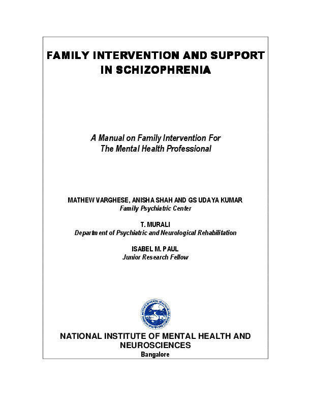 PDF) FAMILY INTERVENTION AND SUPPORT IN SCHIZOPHRENIA A