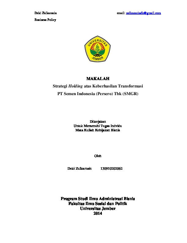 (PDF) Kebijakan Bisnis and Case Makalah | DEKI ZULKARNAIN ...
