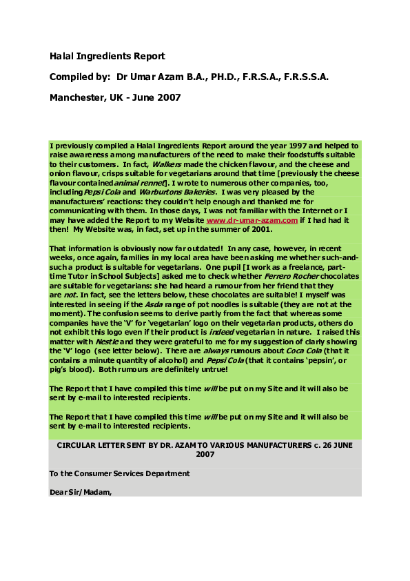 PDF) THE HALAL INGREDIENTS REPORT | DR UMAR E AZAM - Academia edu