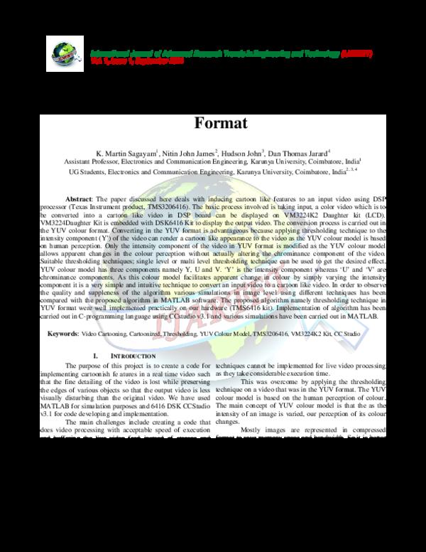 PDF) Implementation of Live Video Cartooning Using Thresholding