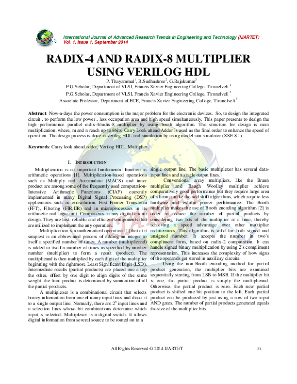 PDF) RADIX-4 AND RADIX-8 MULTIPLIER USING VERILOG HDL