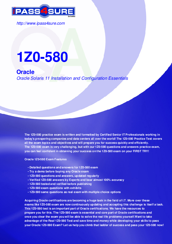 PDF) Z0-580 Oracle Oracle Solaris 11 Installation and Configuration