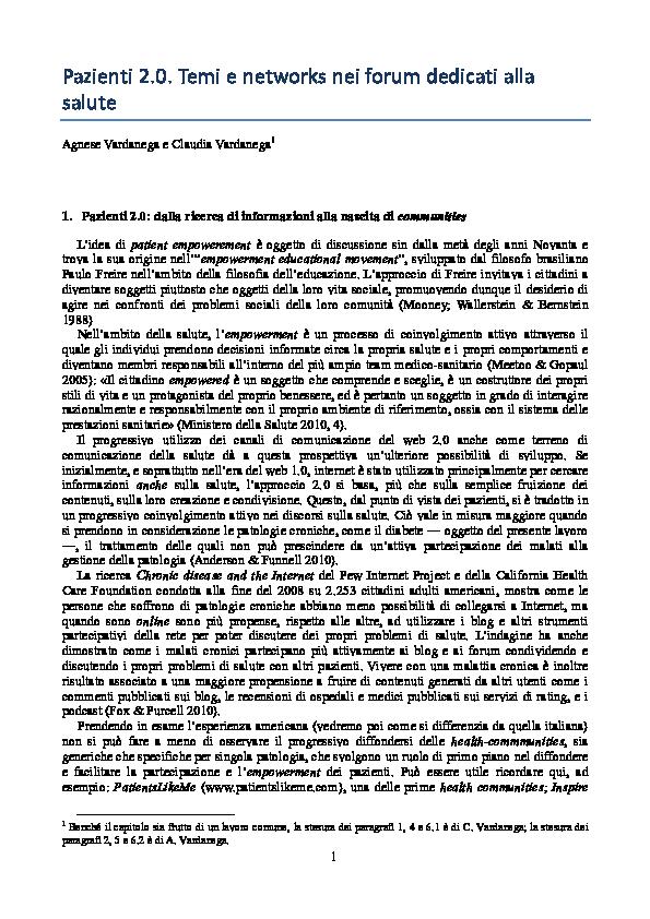 Pdf Pazienti 2 0 Temi E Networks Nei Forum Dedicati Alla Salute Draft Agnese Vardanega Academia Edu