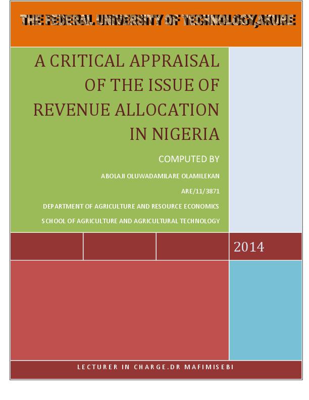 revenue sharing formula in nigeria
