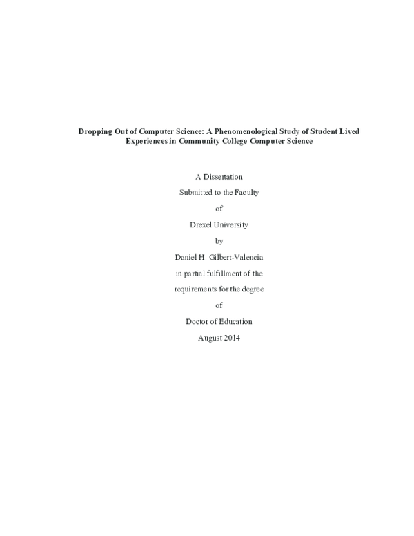 PDF) Dropping Out of Computer Science: A Phenomenological Study of
