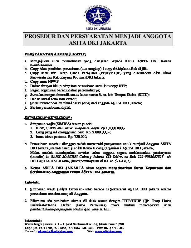 Pdf Prosedur Dan Persyaratan Menjadi Anggota Asita Dki