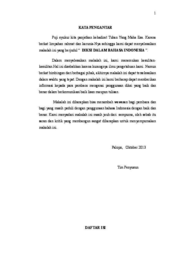 Doc Makalah Diksi Bahasa Indonesia Sylvia Savio Academia Edu