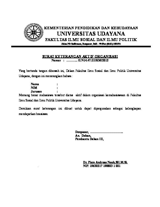 Doc Contoh Surat Keterangan Aktiv Organisasi Odie Idraki