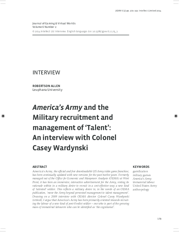 PDF) America's Army and the Recruitment and Management of 'Talent