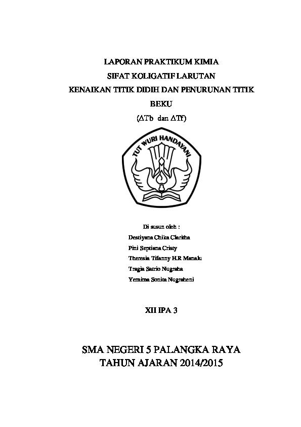 Doc Laporan Praktikum Kimia Sifat Koligatif Larutan Pini Septiana Cristy Academia Edu